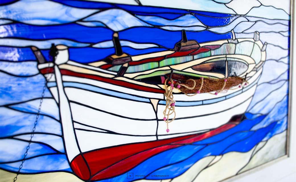 """Πίνακας βιτρώ """"βάρκα"""""""